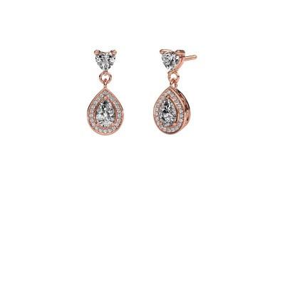 Drop earrings Susannah 375 rose gold zirconia 6x4 mm