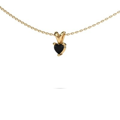 Foto van Ketting Garnet 585 goud zwarte diamant 0.30 crt