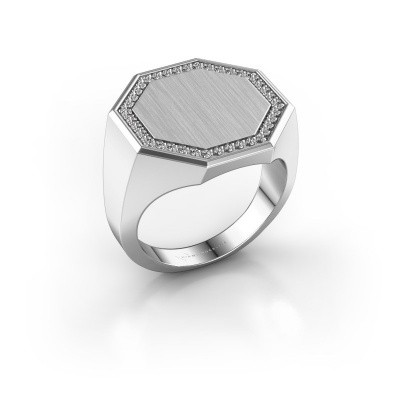Men's ring Floris Octa 4 375 white gold zirconia 1.2 mm