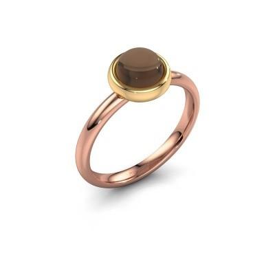 Ring Blossom 585 rosé goud rookkwarts 6 mm