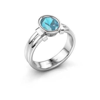Ring Gerda 925 zilver blauw topaas 8x6 mm