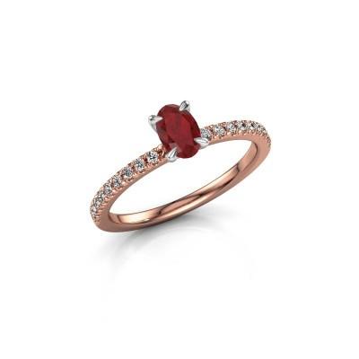 Foto van Verlovingsring Crystal OVL 2 585 rosé goud robijn 6x4 mm