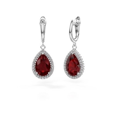 Picture of Drop earrings Hana 1 950 platinum ruby 12x8 mm