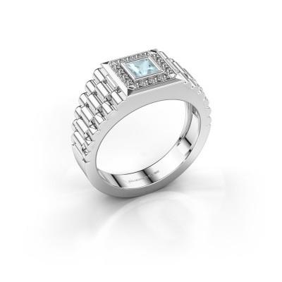 Foto van Rolex stijl ring Zilan 585 witgoud aquamarijn 4 mm