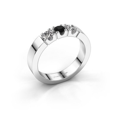 Foto van Verlovingsring Dana 3 585 witgoud zwarte diamant 0.48 crt