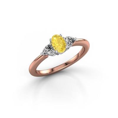Foto van Verlovingsring Chanou OVL 585 rosé goud gele saffier 6x4 mm