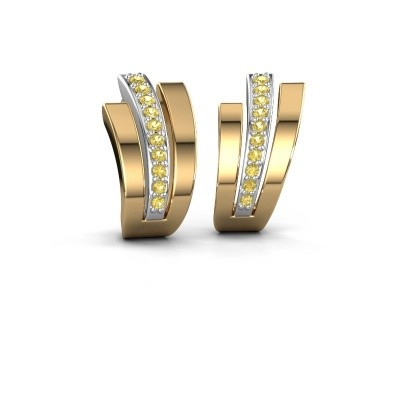 Picture of Earrings Emeline 585 white gold yellow sapphire 1.1 mm