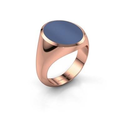 Signet ring Herman 6 375 rose gold blue sardonyx 16x13 mm