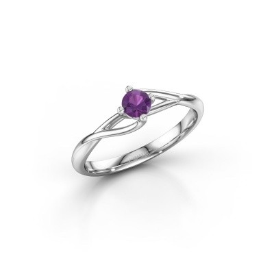 Picture of Engagement ring Paulien 925 silver amethyst 4 mm