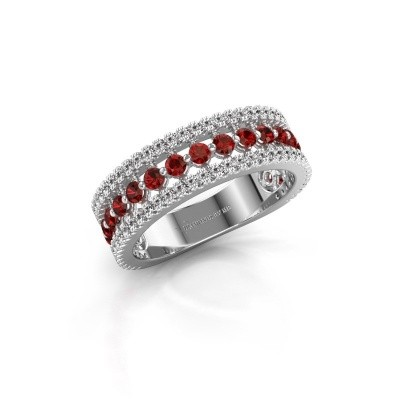 Engagement ring Elizbeth 1 585 white gold garnet 2 mm