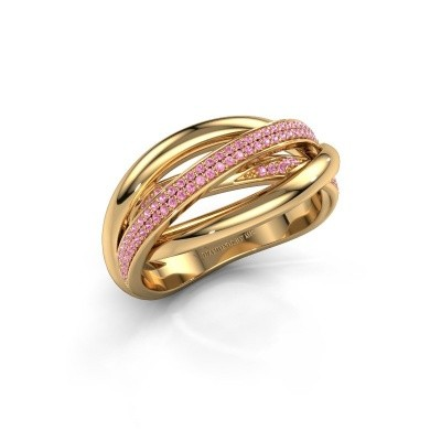 Ring Candice 375 goud roze saffier 0.8 mm