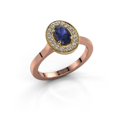 Foto van Ring Madelon 1 585 rosé goud saffier 7x5 mm