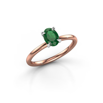 Foto van Verlovingsring Crystal OVL 1 585 rosé goud smaragd 7x5 mm