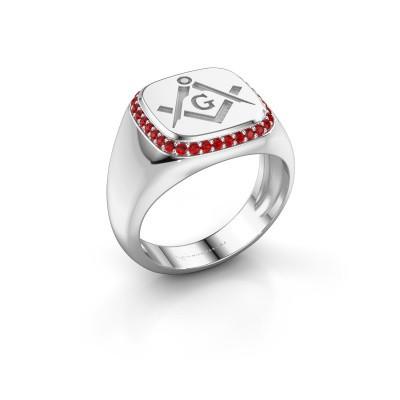 Men's ring Johan 375 white gold ruby 1.2 mm