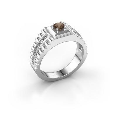 Foto van Rolex stijl ring Maikel 585 witgoud rookkwarts 4.2 mm