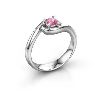Foto van Ring Linn 585 witgoud roze saffier 4 mm