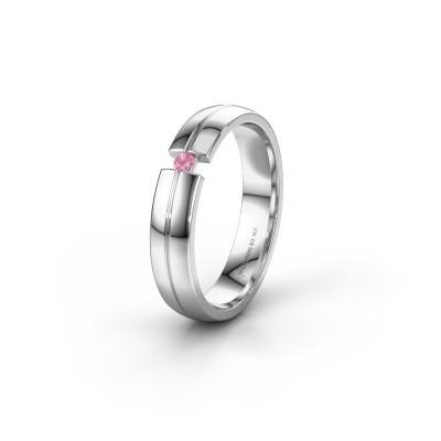 Trouwring WH0254L24X 585 witgoud roze saffier ±4x1.5 mm