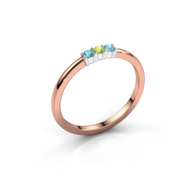Verlovings ring Yasmin 3 585 rosé goud peridoot 2 mm