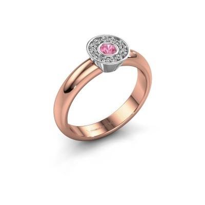 Foto van Ring Fiene 585 rosé goud roze saffier 2.8 mm