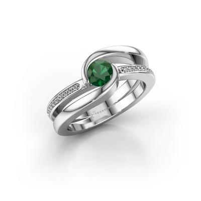 Foto van Ring Xenia 2 925 zilver smaragd 5 mm