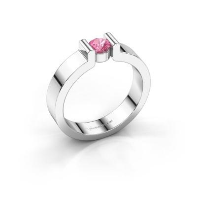 Verlovingsring Isabel 1 925 zilver roze saffier 4 mm