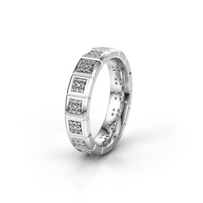 Trouwring WH2056L15DP 375 witgoud diamant ±5x2.4 mm