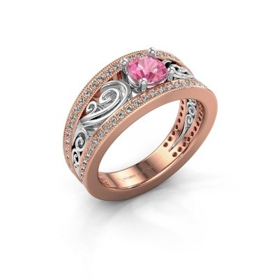 Foto van Verlovingsring Julliana 585 rosé goud roze saffier 5 mm
