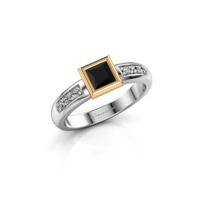 Stacking ring Lieke Square 585 white gold black diamond 0.60 crt