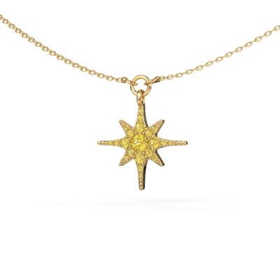 Halsketting Star 585 goud gele saffier 3 mm