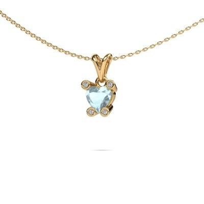 Foto van Ketting Cornelia Heart 375 goud aquamarijn 6 mm