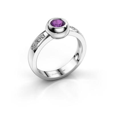 Ring Charlotte Round 585 witgoud amethist 4.7 mm