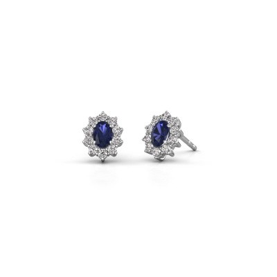 Photo de Boucles d'oreilles Leesa 585 or blanc saphir 6x4 mm