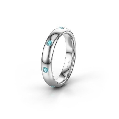 Wedding ring WH0105L34BP 950 platinum blue topaz ±0.16x0.08 in