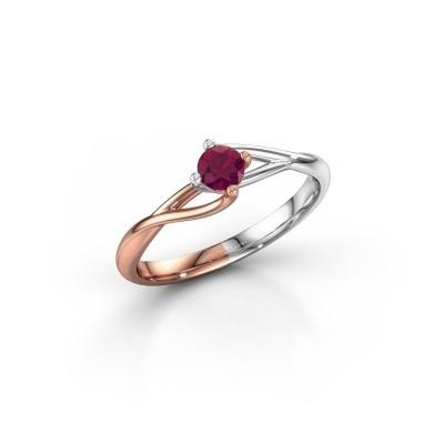 Foto van Verlovingsring Paulien 585 rosé goud rhodoliet 4 mm