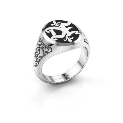 Monogram ring Brian Emaille 375 witgoud zwarte emaille
