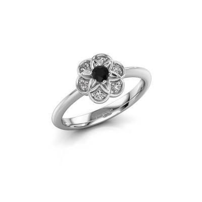 Verlovingsring Uma 925 zilver zwarte diamant 0.12 crt