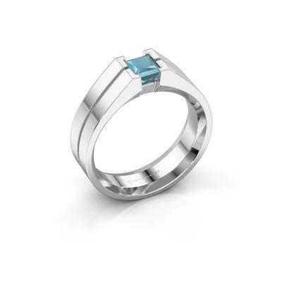 Foto van Heren ring Stefan 925 zilver blauw topaas 4.5 mm