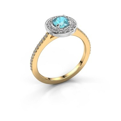 Foto van Ring Agaat 2 585 goud blauw topaas 5 mm