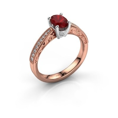 Verlovingsring Shonta OVL 585 rosé goud robijn 7x5 mm