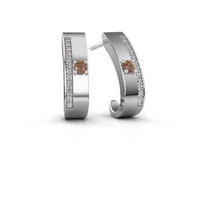 Oorbellen Vick1 585 witgoud bruine diamant 0.230 crt