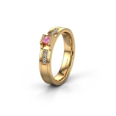 Trouwring WH2110L14A 585 goud roze saffier ±4x1.7 mm
