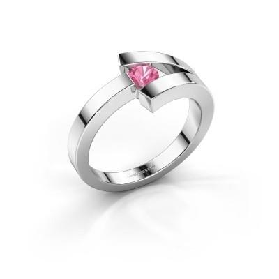 Foto van Ring Sofia 925 zilver roze saffier 3.7 mm