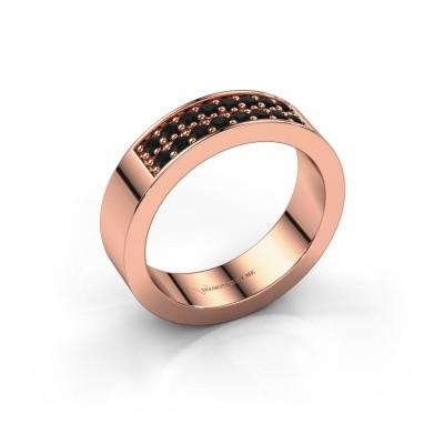 Stackable ring Catharina 5 375 rose gold black diamond 0.384 crt