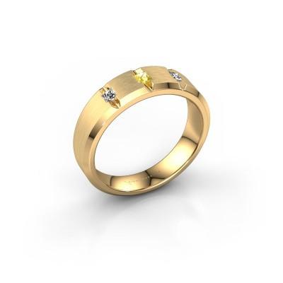 Mannen ring Justin 375 goud gele saffier 2.5 mm