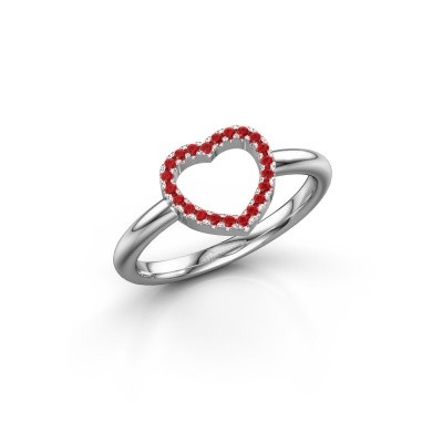 Foto van Ring Heart 7 585 witgoud robijn 1 mm