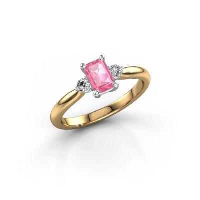 Foto van Verlovingsring Lieselot EME 585 goud roze saffier 6x4 mm