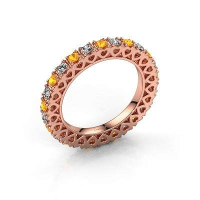 Bague superposable Hailey 375 or rose citrine 2.2 mm