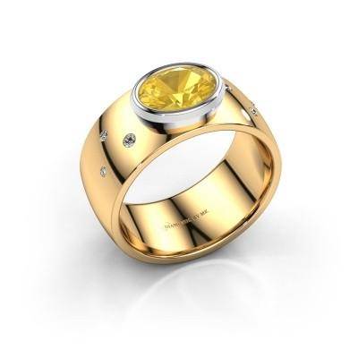 Ring Wilma 2 585 goud gele saffier 8x6 mm