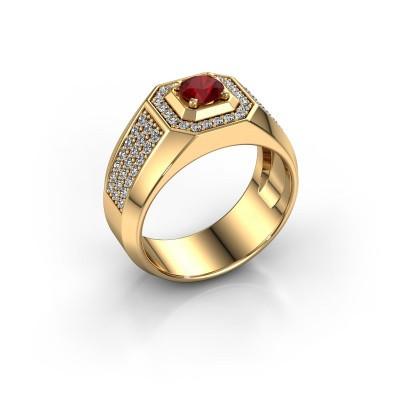 Foto van Heren ring Pavan 375 goud robijn 5 mm