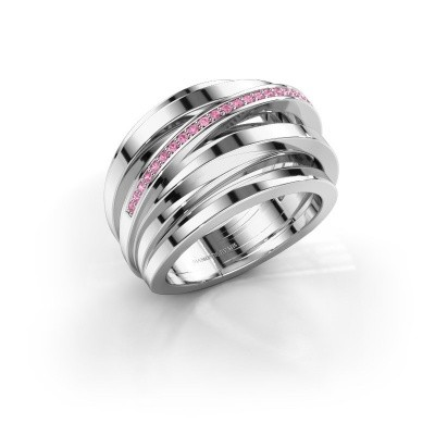 Ring Swinda 950 platina roze saffier 1 mm